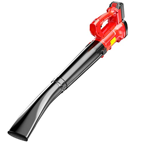 CYY Red Cordless Leaf Blower Included 21V 2.0AH Battery and Charger,Handheld Electric Sweeper with 6 Gears Variable Speed,for Blowing Leaves/Sweeping Snow/Dusting