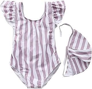 AOAO Baby Girl Bikini Beach Swimsuit Ruffles Swimming Backless Bathing Suit Swimwear+Hat 2 Pcs Set 1-5T