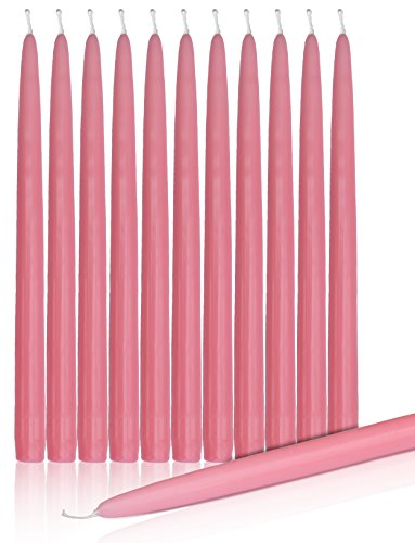 """Higlow Dripless Taper Candles 12"""" Inch Tall Wedding Candle Set Of 12 … (PINK)"""