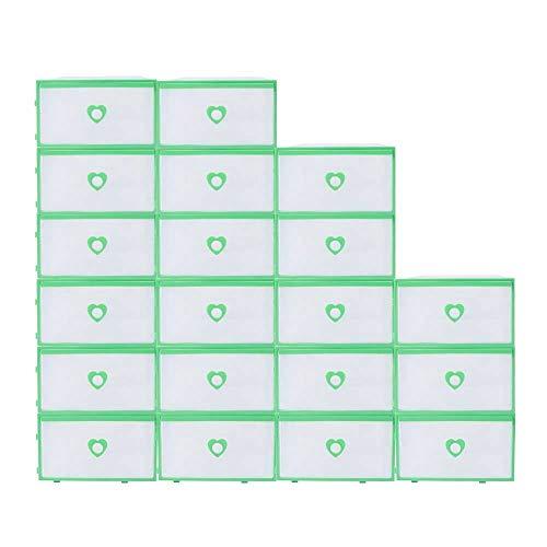 Kaibrite 20 cajas de zapatos apilables translúcidas de plástico con borde verde para zapatos, botas, juguetes de almacenamiento