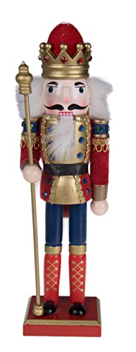 "Clever Creations Traditional King Nutcracker Collectible Wooden Christmas Nutcracker | Festive Holiday Decor | Red and Blue Embellished Uniform | Holding Tall Gold Scepter | 100% Wood | 12"" Tall"