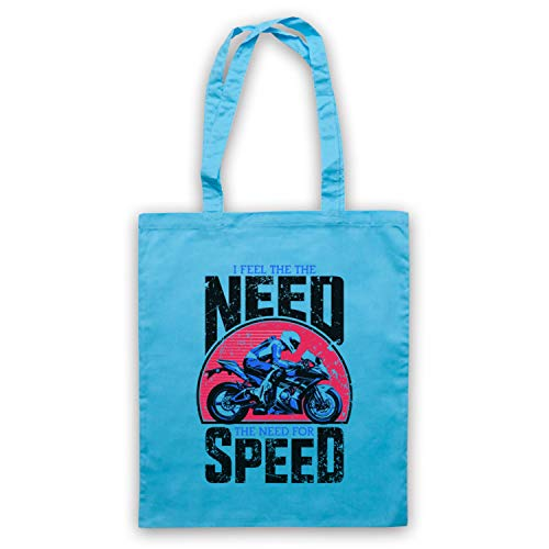 My Icon Art & Clothing I Feel The Need For Speed Superbike Motorbike Slogan Sac d'emballage, Bleu Clair
