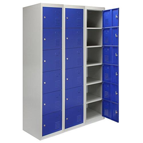 MonsterShop - 3 Taquillas para Ensamblar con 6 Puertas Azules de Acero 45cm x 114cm x 180cm para Escuelas, Gimnasios y Vestuarios