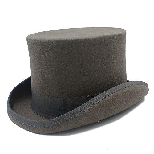 LLPBEAU-hat 15cm 4 tamaño Gris Negro Lana Mujeres Hombres Fedora Sombrero de Copa para Mago Steampunk Sombrerero Loco tío Sam Castor Fiesta Boda Sombrero (Color : 1, Size : 57cm)