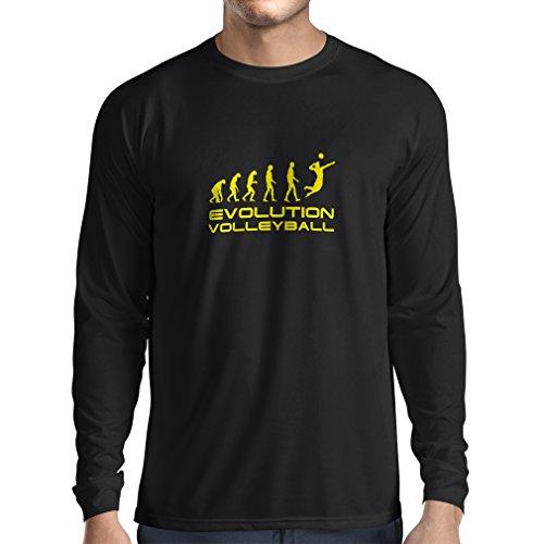 lepni.me Camiseta de Manga Larga para Hombre La Historia y la evolución del Juego de Voleibol (XX-Large Negro Amarillo)