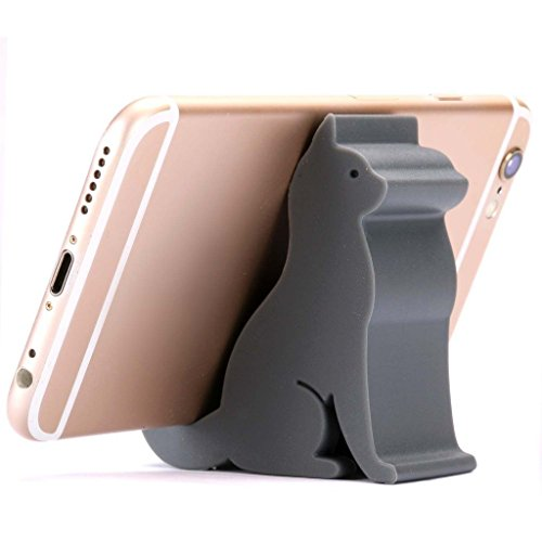 Plinrise Super Cute Phone Holder, Mini Cat Shaped Silica Gel Cellphone Stand, Animal Phone Mount for All Cellphone Free Your Hands (Grey)