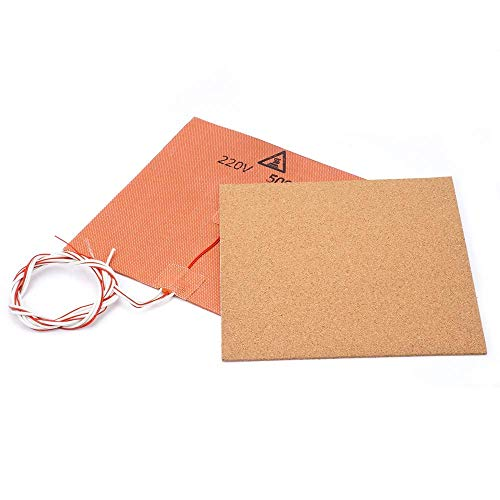 Printer Accessories 220V 500W Silicone Heater Pad Mat 200X200mm + Adhesive Cork Sheets 200 * 200 * 3mm Heated Bed Hot Plate for Prusa i3 3D Printer Parts