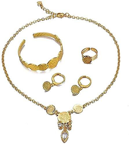 huangshuhua Collar Etíope Árabe Collar Joyas Color Dorado Niños Joyas para bebés Conjuntos de Joyas Collar/Pendientes/Anillo/Pulsera Regalo para niños para Mujeres Hombres Regalo