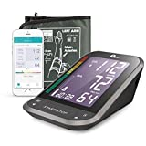 1byone Blood Pressure Monitor Upper Arm with Large Cuff, Bluetooth Automatic BP Monitor Machine Kit for Home (Black)