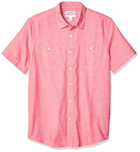 Amazon Essentials Herren-Chambray-Hemd, Slim-Fit, kurzärmelig, Red, US M (EU M)