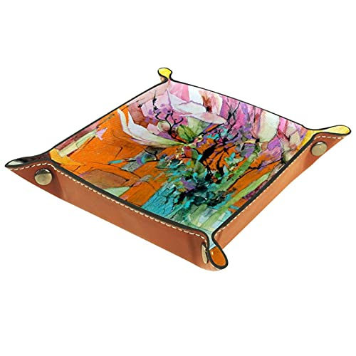 Abstract art1 Bandejas de valet para mujer, bandejas de cuero de microfibra, fondos de patrón multicolor, tablas de almacenamiento de escritorio para monedas clave carteras móviles