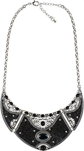 styleBREAKER Halskette Statement Kette, Perlen und Strass besetzt, Ornamente, 3 teilig, Damen 05030015, Farbe:Schwarz