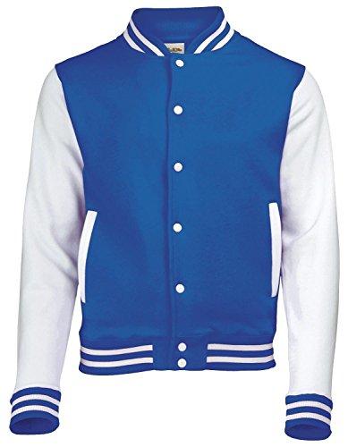 Coole-Fun-T-Shirts College Jacke weißer Ärmel Blau L
