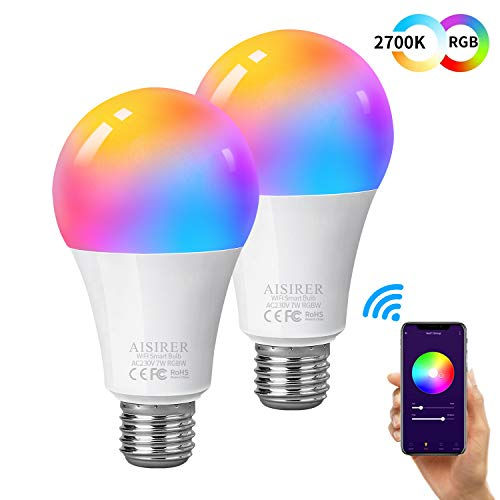 Ampoule Intelligente Wifi Led Smart Bulb E27, AISIRER Ampoule connectee alexa, Compatible Avec Alexa, Google Home et IFTTT,...