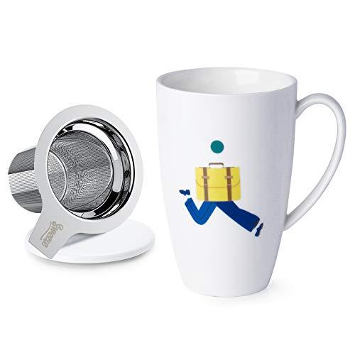 Sweese 201.223 Teetasse mit Deckel und Sieb, Becher aus Porzellan für Losen Tee Oder Beutel, 400 ml