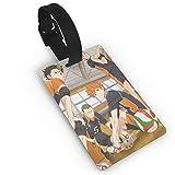 Haikyu-U!! Etiquetas de equipaje de microfibra de cuero personalizado maleta Tag Set etiquetas de identificación de equipaje Accesorios de viaje PVC 5.6*9.4 cm