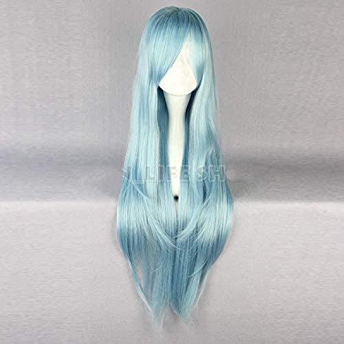 Perücke Sao Alo Titania Yuuki Asuna Wasserfee Lange Gerade Aqua Blau Cosplay Volle Perücke