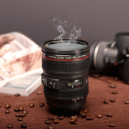 ホームカップ ユニークなシミュレーションダミーズームレンズ(EF24-105mm G / 4 USM)コーヒーカップマグ、ステンレス鋼ライナー マグカップ・ティーカップ ( 色 : Black )