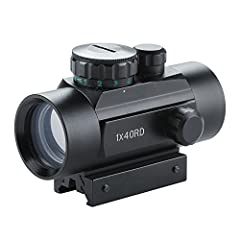 Solid metal construction, durable and shock proof. Red or green dual illuminated dot reticles with 5 level brightness control. Multi-coated lens, water proof & fog proof, works great in all weather conditions. Precision windage and elevation adjustme...