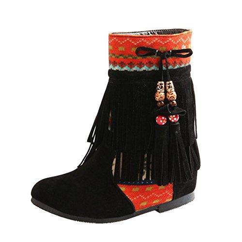 Frestepvie Damen Boots Fransen Stiefeletten Flach Ankle Boots Schlupfstiefel Quasten Ferse Winter Herbst Elegant Frauen Vintage Bohemian Schuhe