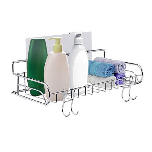 GEMITTO Estante de baño de acero inoxidable SUS304 no perforado para ducha con 2 pegatinas y 2 ganchos