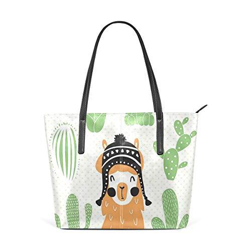 NR Moda multicolore Borsa fine Borsa tote Borse da donna Borse a spalla da donna,Lama In Cappello Boliviano Etnico Tradizionale Sorridente Pois Comici