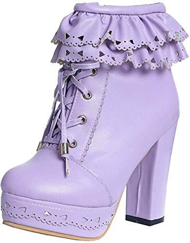 DAWANG Hochhackige Stiefeletten mit dickem Absatz für Damen mit Reißverschluss und Reißverschluss Lolita-Stiefeletten-44 EU_Lila