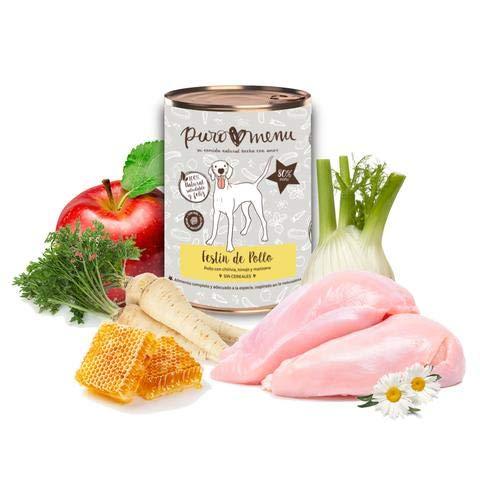 Comida húmeda para Perros (12x400g)   con 80% de Carne de Pollo   Sin Cereales   Sin Patata   Sin aditivos   Monoproteico   12 latas de 400g