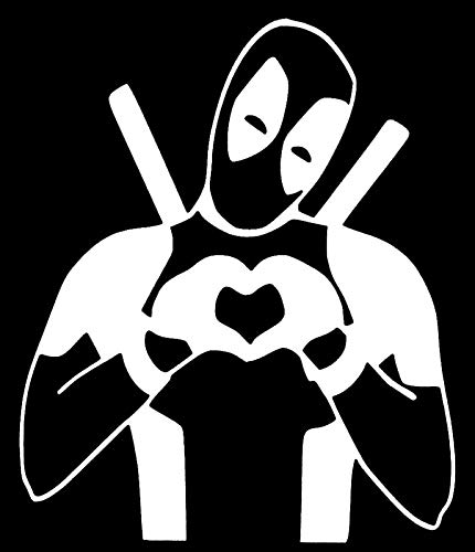 Makarios LLC Heart Deadpool Love Cars Camiones Vans Mkr Paredes para Laptop | Blanco | 5.5 x 4.5 | MKR709