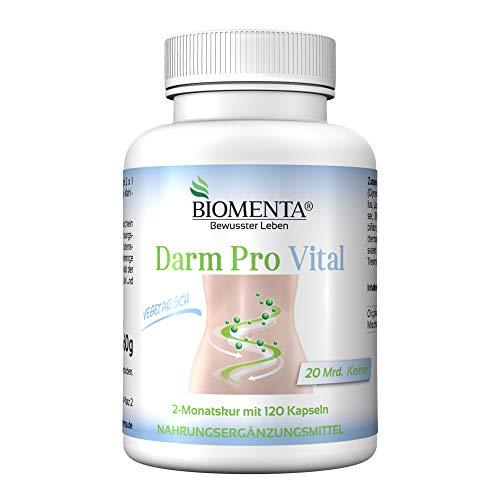 BIOMENTA Darm Pro Vital - 20 Mrd. Mischbakterienkulturen -120 Darm-Kapseln - 2 Monatskur - Bifidobakterien - Lactobacillus rhamnosus, L. casei, L. acidophilus, Streptococcus thermophilus