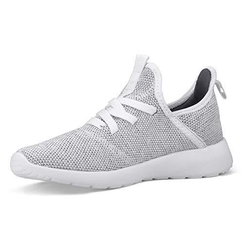 Footfox WomensWalkingShoesBreathableLightweightMeshCasualWorkoutShoesSliponSneakers, Grey 7.5
