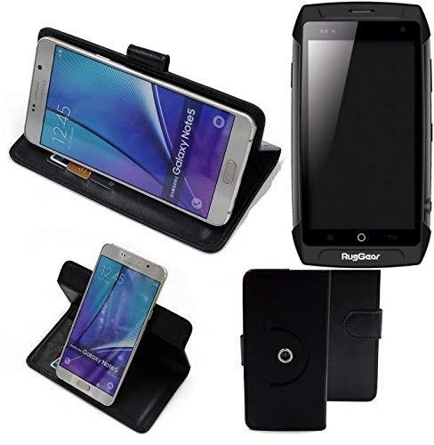 K-S-Trade® Case Schutz Hülle Für -Ruggear RG730- Handyhülle Flipcase Smartphone Cover Handy Schutz Tasche Bookstyle Walletcase Schwarz (1x)