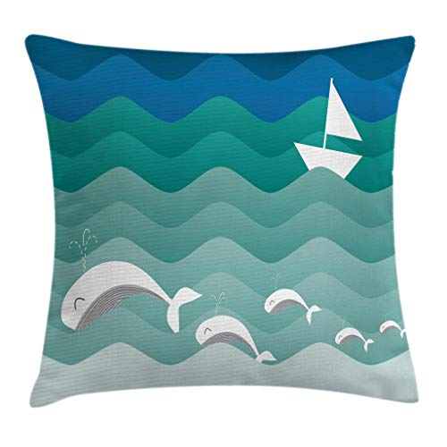 Ambesonne Nautical Decor Throw Pillow Cushion Cover, Nautical Theme with Paper Boat Sea Happy Dolphins Underwater Sea Animals, Decorative Square Accent Pillow Case, 18 X 18 Inches, Multicolor