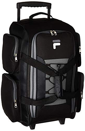 "Fila 22"" Lightweight Carry On Rolling Duffel Bag, Black, One Size Florida"