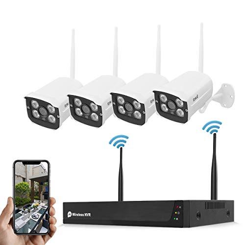 Wireless Überwachungssystem, 4 PCS 1080p WiFi-Überwachungskameras mit 8CH HD NVR für 7/24-Aufnahme (ohne Festplatte), WLAN-Kamera für die Sicherheit zu Hause H.265