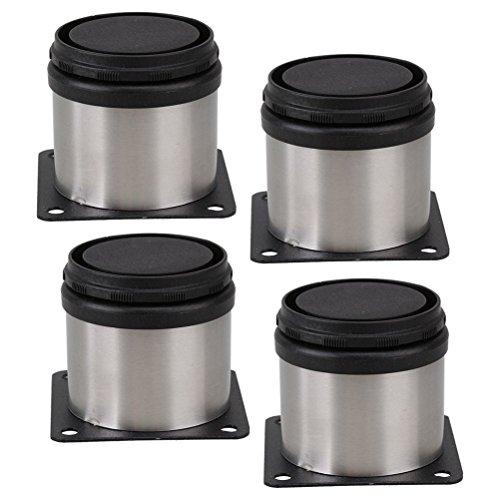 PIXNOR Möbelfüße Schrankfüße Metall verstellbar Edelstahl Küche runden 4-er Pack