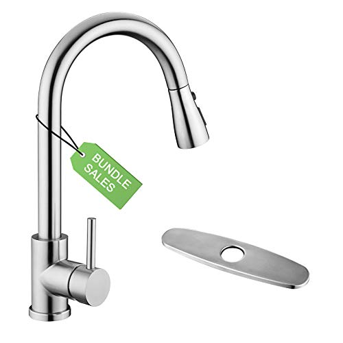 Kitchen Sink Faucet, Kitchen Faucet Stainless Steel with Pull Down Sprayer Brushed Nickel Single Handle Single Hole Pull Out Kitchen Faucets for Bar Laundry rv Utility Sink With Deck Plate
