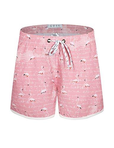 APTRO Damen Badeshorts Kurze Badehose Strand Wassersport Shorts Boardshorts UV Schutz Sommer Shorts Flamingo Rosa WS207 2XL