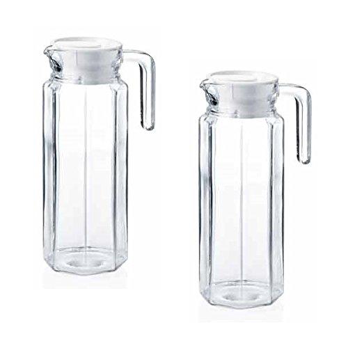 2 Glaskannen Glaskrüge Kühlschrankkannen Kühlschrankkrüge je 1 Liter aus Glas mit weißem Kunststoffdeckel