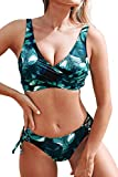 CUPSHE Women's Yellow and Purple Floral Front Cross Lace Up Bikini (X-Large, Black Green)