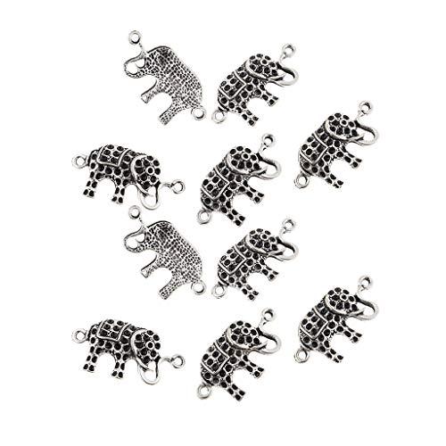 D DOLITY 10 colgantes tibetanos de plata con diseño de elefante para manualidades, para collar de cadena