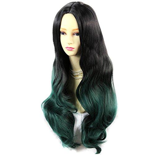 Perruque Ãâ ® Long ondulé Lady Perruque Noir Marron et vert avec pointes ombré Cheveux