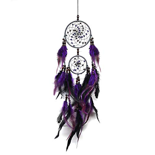 jieGorge Handmade Dream Catcher Circular With Feather Wall Hanging Decoration Ornament , Decors for Home Christmas New Year (Purple)