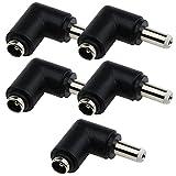 5 conectores hembra de 5,5 x 2,1 mm a 5,5 x 2,5 mm conector macho jack DC adaptador convertidor para aplicaciones de cámara CCTV