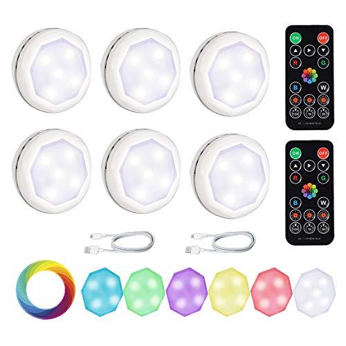 6 x Luci Armadio LED RGB La ricarica USB può essere riutilizzata Lampada Notturna Senza Fili con Telecomando e Sensore di Touch Dimmerabile Adesiva Multicolore per Vetrine, Armadio, Cucina