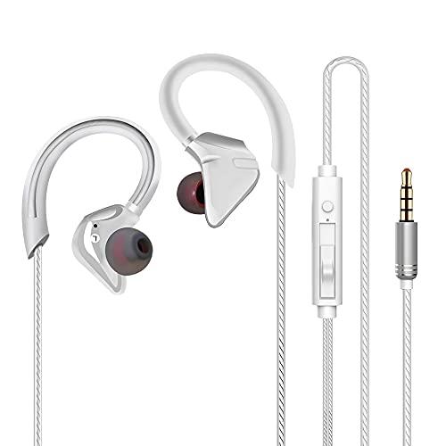 イヤホン 有線 イヤフォン マイク音量調節 クリア通話 音漏れ防止 ノイズキャンセリング ステレオ イヤホン 耳掛け式、強力な低音、 3.5mmイヤホンジャック対応 (白い)