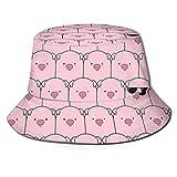 UKHD Chapeau de Seau Unisexe, ce Cochon Cool Chapeaux de pêcheur été Casquette Pliable en Plein air Voyage Plage Chapeau de Soleil