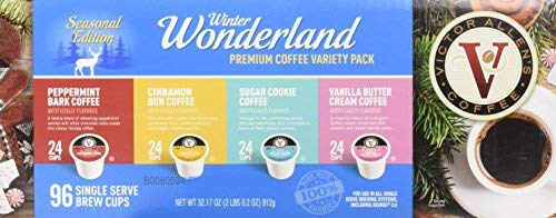 Victor Allen's Coffee Winter Wonderland 96ct Flavored Variety Pack (Peppermint Bark, Cinnamon Bun, Sugar Cookie, Vanilla Buttercream), 96 Count Single Serve Coffee Pods for Keurig K-Cup Brewers