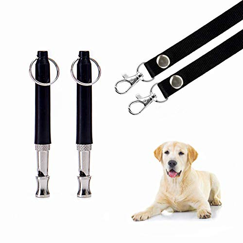 HEHUI Dog Whistle, Dog Whistle to Stop Barking with PDF Training Tutorial Adjustable Pitch Ultrasonic Safety Stainless Steel Dog Training Whistle 2 Packs - Dog Whistles with 2 Free Lanyards (Black)