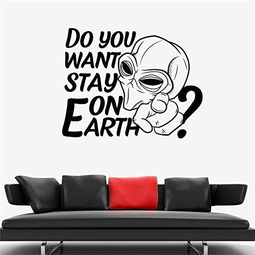zhuziji Etiqueta de la Pared Alien Humanoid Space Galaxy Monster Invasion Vinilo Sticker Art Decor Home Decor Vinilo Living Wall Stick Rojo 58 X 46 CM